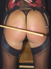 Nylon Jane in sexy lingerie caning hot blonde