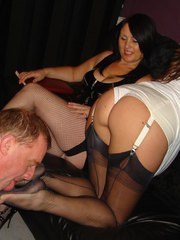 Jane tramples this lucky member then gets her feet licked