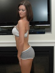 Horny Kalee loves to show off her tight round ass in her tiny tight workout shorts