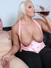Busty blonde babe Macy milking big cock for her coffee cream