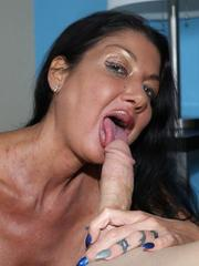 Horny busty milf Nadia sucking big cock of her step son