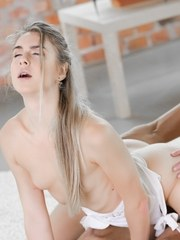 Young blonde beauty Alecia Fox spends a little time with Lutro. Without resistance
