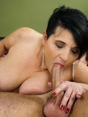 Lusty granny Dolly Bee is teased by Rob and his rose. She wants his young cock deep