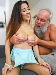 The young Darcia Lee cant resist old man Alberts cock. She sucks his dick like a
