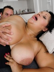 Real busty granny Bubi is about to have her hairy pussy fucked by Robs hard prick!