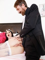 Master Steve arrived home late as sexy French maid Joanna was finishing up her first