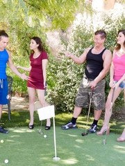Two couples are out for a fun evening at Putt Putt Golf. T-Stone is really bad and