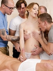 Beautiful masseuse Belle Claire has a busy day at work when a bunch of studs come