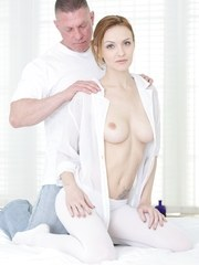Belle Claire knows just how to massage Dillions rock hard dick with her hands mouth