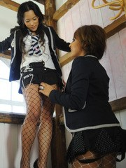 Kayla has taken Ayumi to the attic so she can seduce her they kiss as Kayla starts
