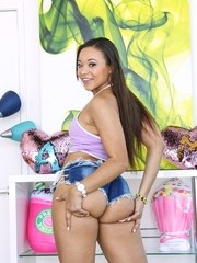 Adorable mixed-race Latina Adriana Maya shows off the cute soft ass spilling from
