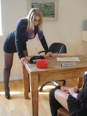 Deputy Head Elise has brought Amy up to her office as she is in trouble for wearing