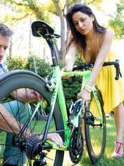 Latina girl Gigi Loren gets banged by her stepdad after he fixes her bike