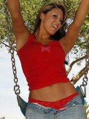 Kates cute girlfriend Rio has a little fun at the playground in her tight jeans with