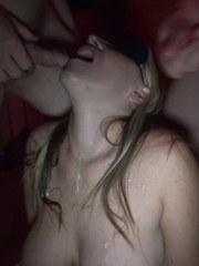 Who wouldnt want to fuck my face while I was blindfolded? Guys surrounded me taking