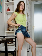 Petite sweetheart Mara Gri is eager to lift her miniskirt and show off her slender