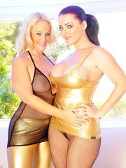 Sophie Dee and I get dressed up in Gold and Fishnet before getting very naughty.