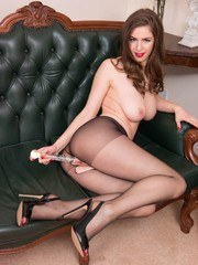 Pantyhose clad Stella is wondering why you picked her up but to us its obvious her
