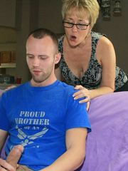Hot milf Tracy sucks and slobbers big young cock