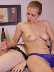 Cute massage therapist Sloan strap her client and she milks him dry