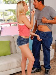Blonde teen Sierra Nicole gets blackmailed into one last fuck with the ex boyfriend.