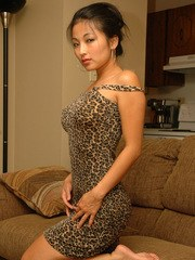 Sexy little asian teen Aria Lee teases in her leopard print dress