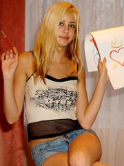 Brilliant fine-looking babe show you her lovely heart art work