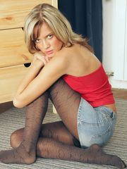 Looking hot in her black hold ups