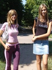 Two hotties in air tight dress flashing in public