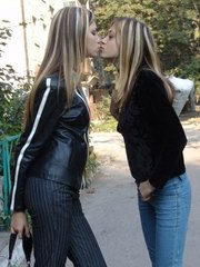 Petite sexy teens hanging and teasing outdoors