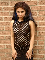 Angels outside in a mesh dress