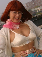 Granny striptease on a rooftop