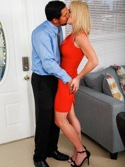 Horny blonde MILF Sydney Hail is a lonely divorcee who gets fucked by her neighbor.