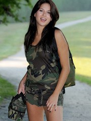 Shyla loves to tease with her tight teenage body barely covered in the woods