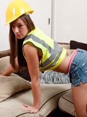 Cate Harrington plays with herself after stripping out of construction guy garb