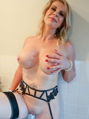 Bigtit housewife Sammi Rox is hot as hell in a lingerie bra and thong that are sheer