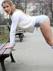 Cock craving coed Alexis Crystal enjoys a jog that is followed by strip yoga in front