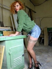 Vixen gets dirty in the workshop