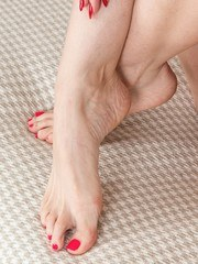 Just a foot show she says but a very horny lady in the nude it is so lots to cast