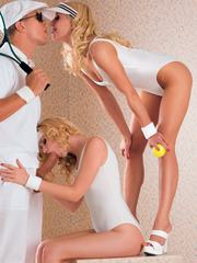 Two hot blondes know how to handle balls in the tennis court
