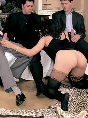 Peggy in black lingerie gets anal DP before a facial cumshot