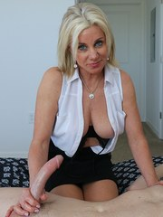 Super cute over 40 MILF Payton stroking huge dick and playing with swollen balls