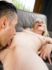 Muscular stud Mugur takes old granny Nanney for a stroll. The horny old hag loves