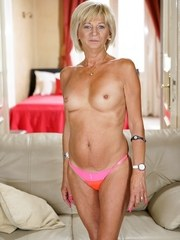 Hot blonde granny Diane Sheperd gets her bald pussy eaten out by Robs soft tongue.