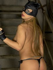 Kinky Babe Dora Meszaros In Leather Cat Outfit Pleases Pussy