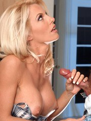 April Ariksen is a hot big tit pornstar who rubs her naked body on a horny guy