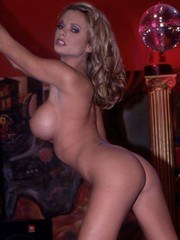 Briana Banks sexy in red stripping nude