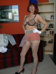 Elegant lady in stockings and pantyhose