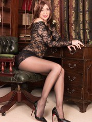 Racy brunette Tracy shows off enviable figure in lacy micro mini dress seamless sheer