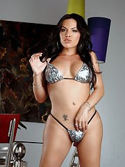 Super hot transsexual Foxxy striptease show
